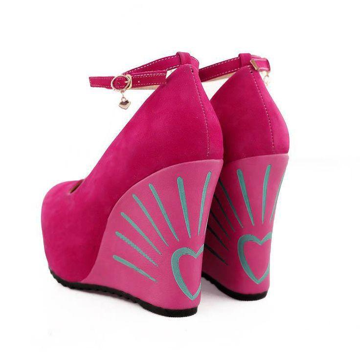 Amazing vibrant pink wedge heels