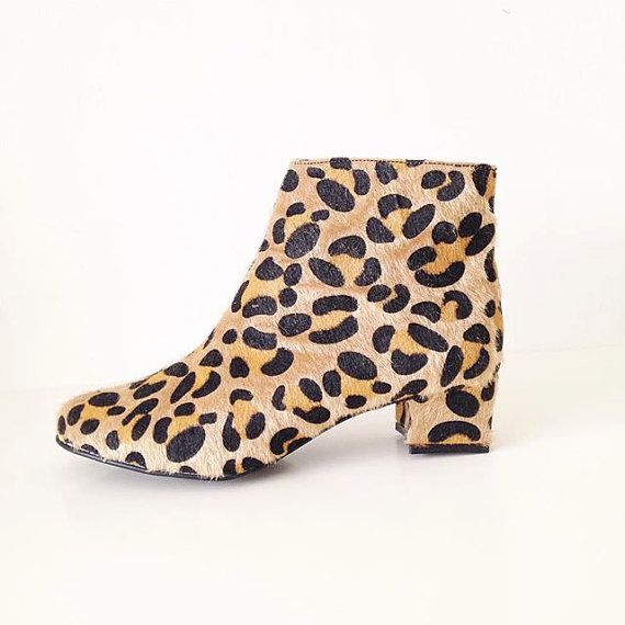Edie Faux Fur Leopard Print Heeled Ankle Boots by goldenponies