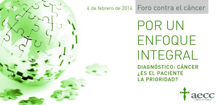 Diagnóstico cáncer: ¿Es el paciente la prioridad? El día 4 de febrero con motivo del Día Mundial Contra el Cáncer tendrá lugar el III Foro contra el cáncer. Presidido por S.A.R. la Princesa de Asturias, presidenta de Honor de la aecc y de su Fundación Científica. Retransmitido vía streaming en www.aecc.es  y a través de nuestro canal de twitter  https://twitter.com/aecc_es  (@aecc_es) . Podéis hacer vuestras preguntas con el hashtag #aeccDíaMundialCáncer