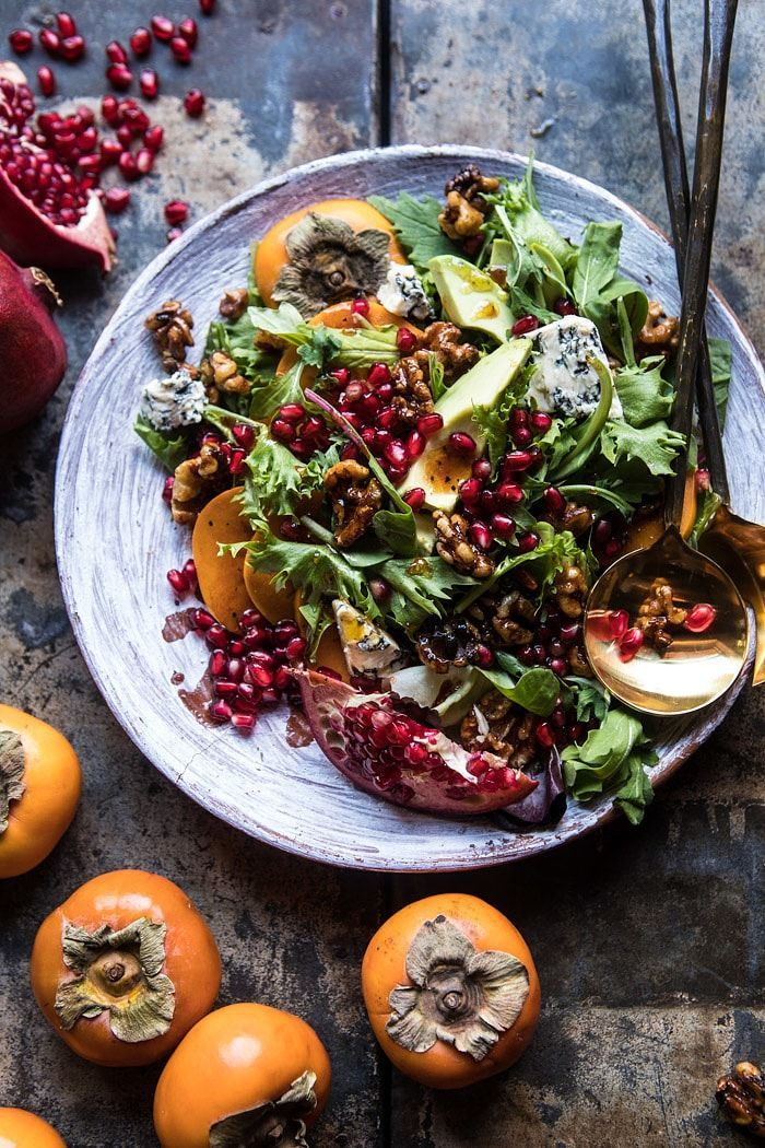 Festive styling <3 Pomegranate Avocado Salad with Candied Walnuts | halfbakedharvest.com @hbharvest