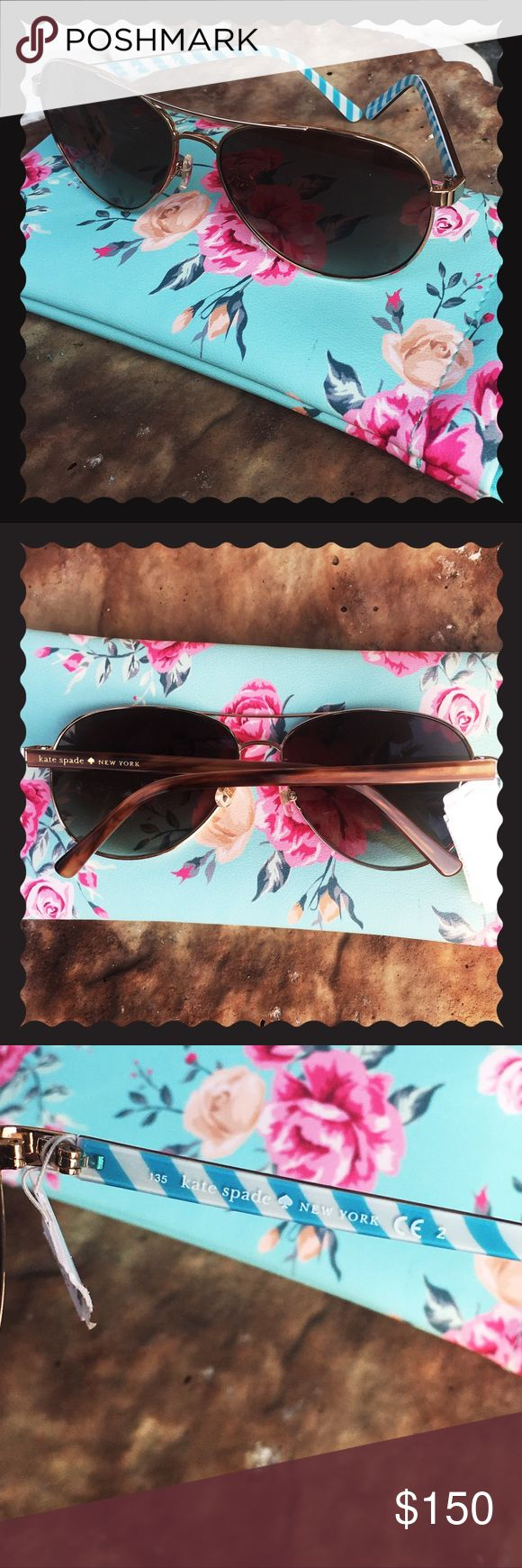 NEW kate spade aviator blossom sunglasses 😎 BRAND new without original case (comes with case pictured though if purchased at listed price only!).  Blue & white stripe design on interior side of stems.  Gold color frame.  Brown exterior stem color with kate spade new york logo.  No defects.  135 mm temple to temple. 14 mm on bridge. 🔵next day shipping ‼️ no trades kate spade Accessories Sunglasses