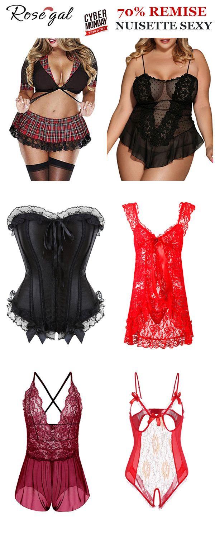 Cadeau St-Valentin Rouge Femme Lingerie Sous-vêtement Basque Nuisette