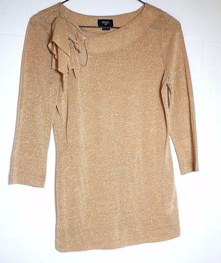 Anthropologie Deletta Small S Beige Gold Metallic Bow Neck Womens Top Shirt #Deletta #KnitTop #CasualCareer