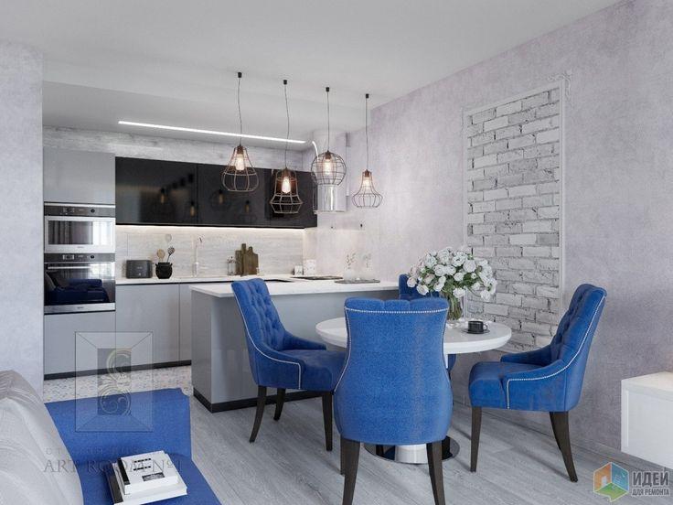 Проект евро трешки 88 кв.м. в ЖК Бунинские Луга. Сочетание глубокого синего и благородного серого. Современный дизайн в стиле Юльхен. Кухня-гостиная студия 25 кв.м.