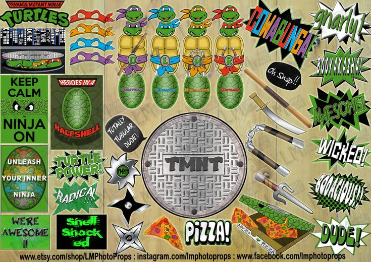 Teenage Mutant Ninja Turtles Photo Booth Props - TMNT Party, tmnt photo props, tmnt Photobooth props, tmnt party INSTANT DOWNLOAD  Printable by LMPhotoProps on Etsy