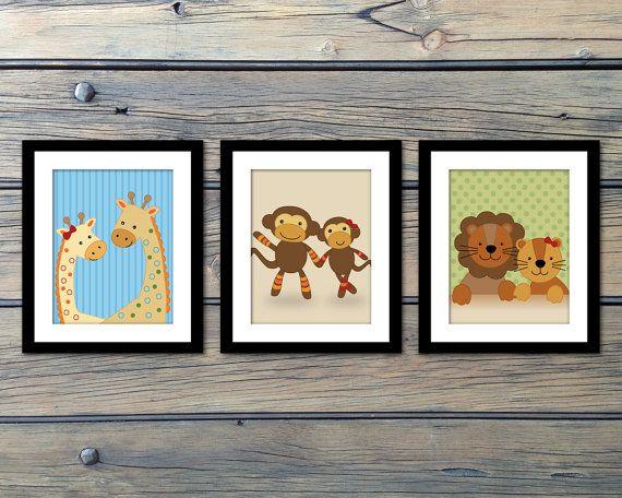 Noah's Ark Nursery Art - Baby Prints - Two by Two - Giraffes Monkeys and Lions!!