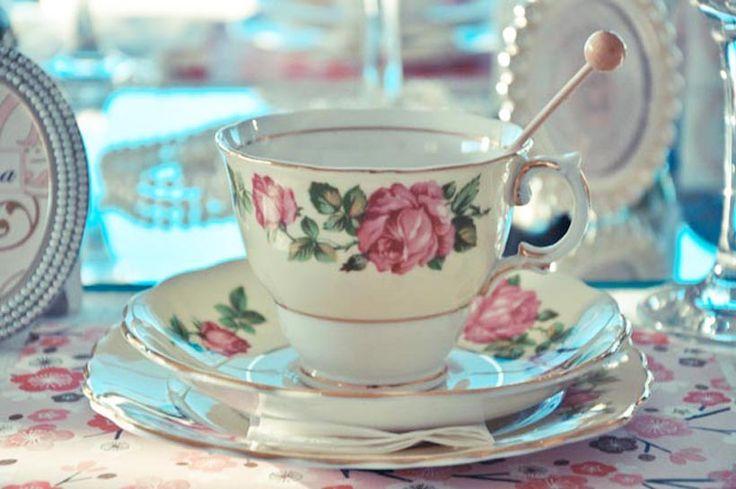 'Girls & Pearls' Bridal Shower Vintage Teacup trio by www.prettylittlevintage.com.au