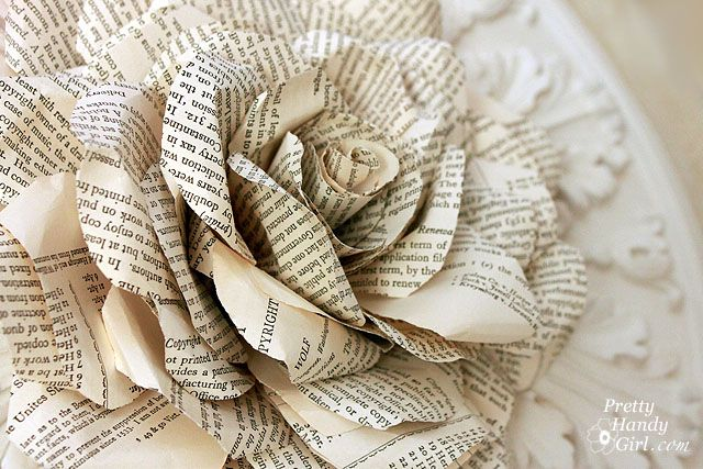 Beautiful rose made of book pages, tutorial by Brittany from PrettyHandyGirl.com