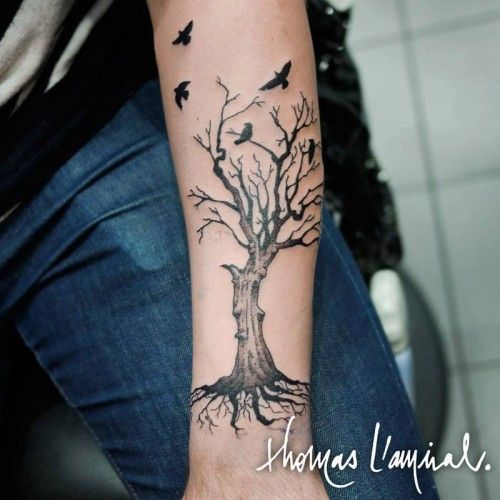 tatouage arbre avec oiseaux avant bras homme tattoos. Black Bedroom Furniture Sets. Home Design Ideas