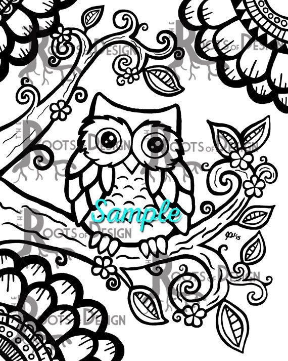 Instant Download Coloring Page Cute Owl Zentangle Inspired Etsy In 2020 Owl Coloring Pages Cute Coloring Pages Owls Drawing