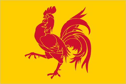 Wallonia, since 1913 27 September is the Day of the French Community of Belgium, which is distinct from the French-speaking Walloon Region. But both region and community use the red rooster of Wallonia as a national symbol. (designer: Pierre Paulus)