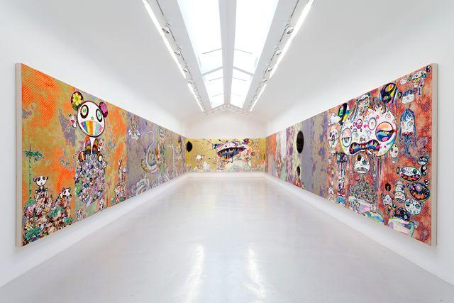 L'artiste japonais conjugue culture pop, références au peintre américain et peinture traditionnelle, dans une grande exposition à la galerie Perrotin.