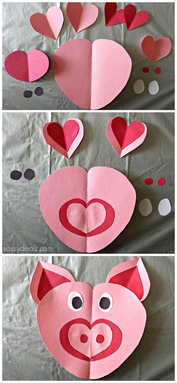 Valentines day crafts for children - Heart Pig Craft For Kids
