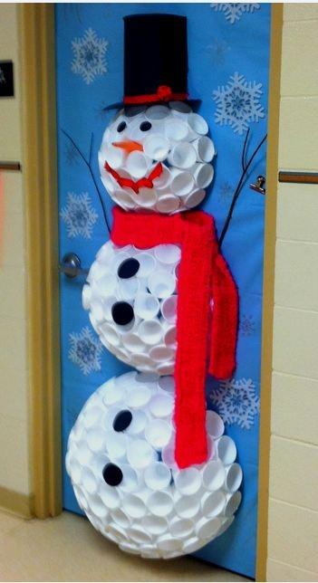 DIY: Snowman made from Styrofoam cups...