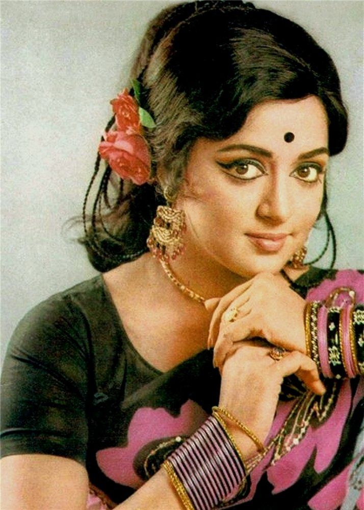 Colour Portrait of Hema Malini, an Indian actress, director and producer - c1970's - Old Indian Photos