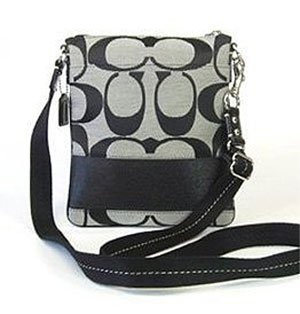 Coach Signature Stripe Swingpack Crossbody Messenger Bag Purse 42619 Black White