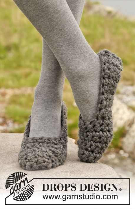 Easy to crochet slippers from Drops Design. Note: Pattern written using UK terms.