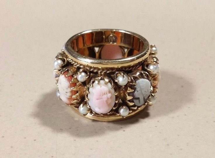 Antique 14k Cameo Ring Cameo Band Multi Stone Pearls Wide Heavy Gold Band Wow! #HinaCrestUnknown