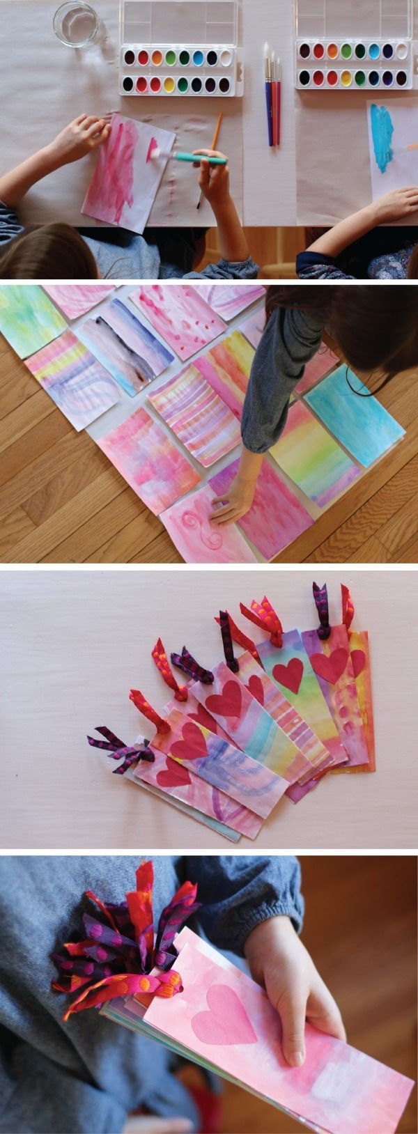 Watercolor bookmark patterns - Break Out Your Crayola Watercolors To Makes These Fun And Easy Diy Valentine S Day Bookmarks