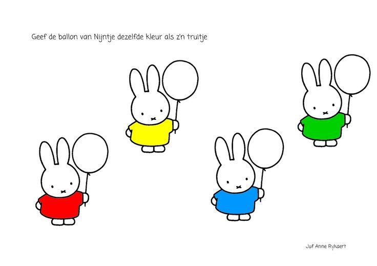 Kleur de ballon van nijntje in dezelfde kleur als haar truitje