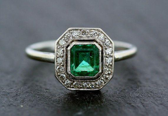 Art Deco Emerald Ring  Antique Emerald & by AlistirWoodTait, £2685.00