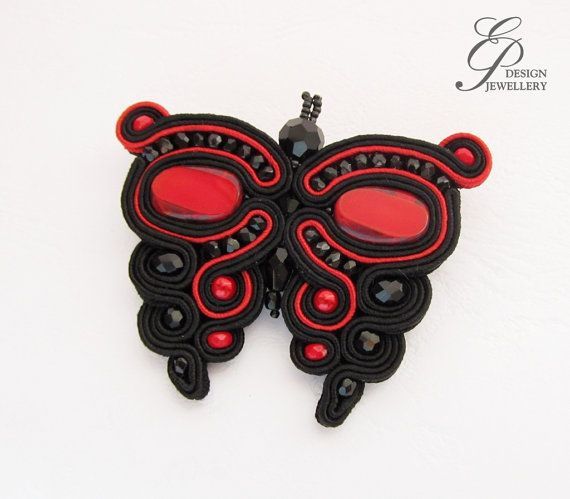 Hey, I found this really awesome Etsy listing at https://www.etsy.com/listing/182393443/butterfly-soutache-brooch-black-and-red