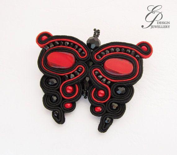 Farfalla spilla soutache nero e rosso, soutache gioielli, regalo per lei, gioielli di arte unica