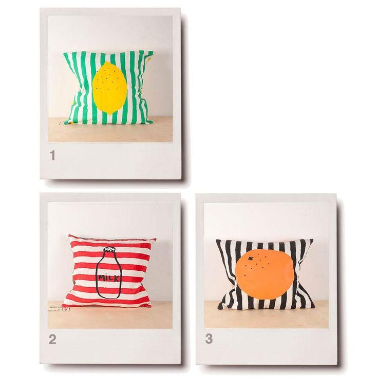 bobo choses stripey fruit print cushions milk orange lemon molly meg pillow babystylefile baby style file