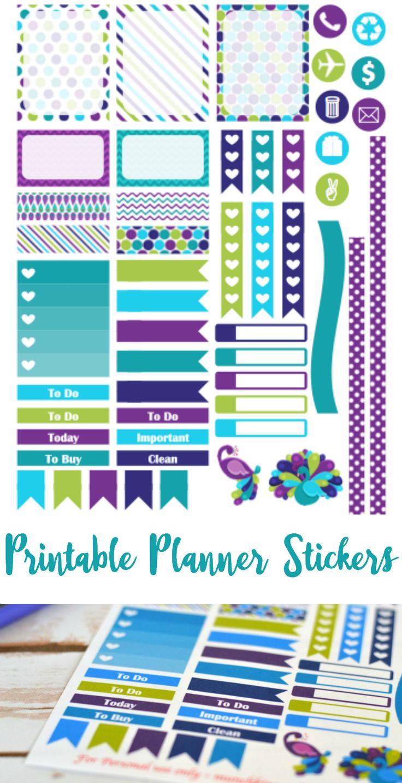 FREE purple peacock printable planner stickers for Septmeber Erin Condren Life Planner - Cricut & PDF files