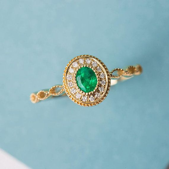 Emerald Engagement Ring, Gold Emerald Ring, Engagement