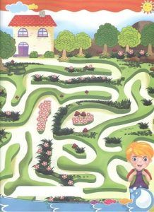 Colored maze worksheet for preschool