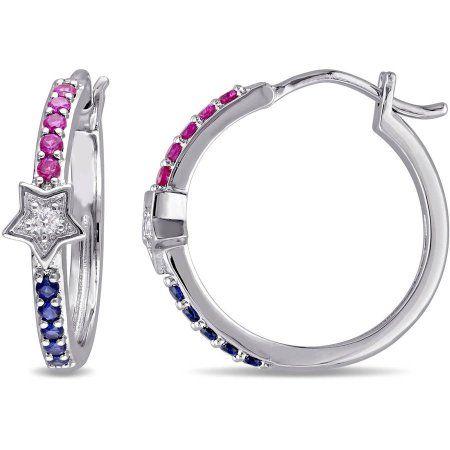 Ruby Huggie Hoop Earrings in Solid Sterling Silver ~ Gorgeous Color