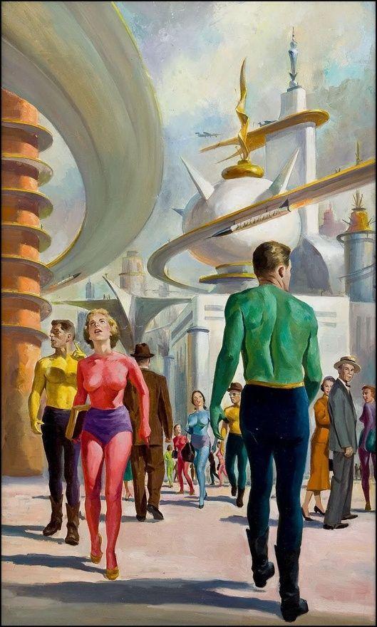 retro futurism / vintage future / utopia / illustration / future city  / vintage science fiction / retro sci fi)