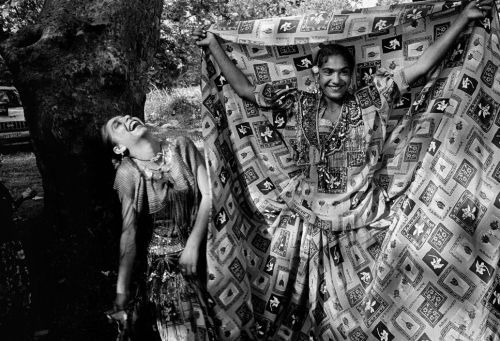 Greece, Euboea island. Gipsy girls dressed up for the feast of St. John. 1997, by Nikos Economopoulos