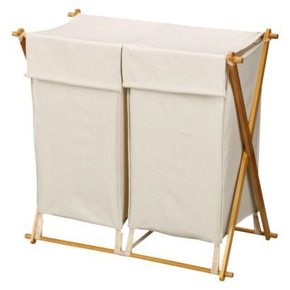 "2 compartment hamper  Dimensions: 30.0 "" H x 30.0 "" W x 17.0 "" L  $20.49"