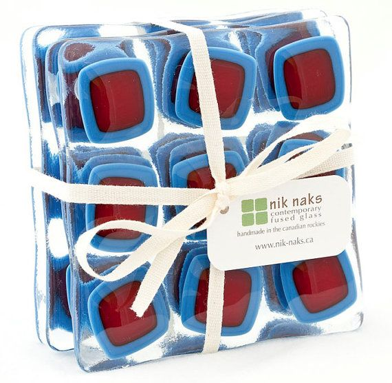 fused glass coasters blue red glass coasters by niknaksglass, $35.00