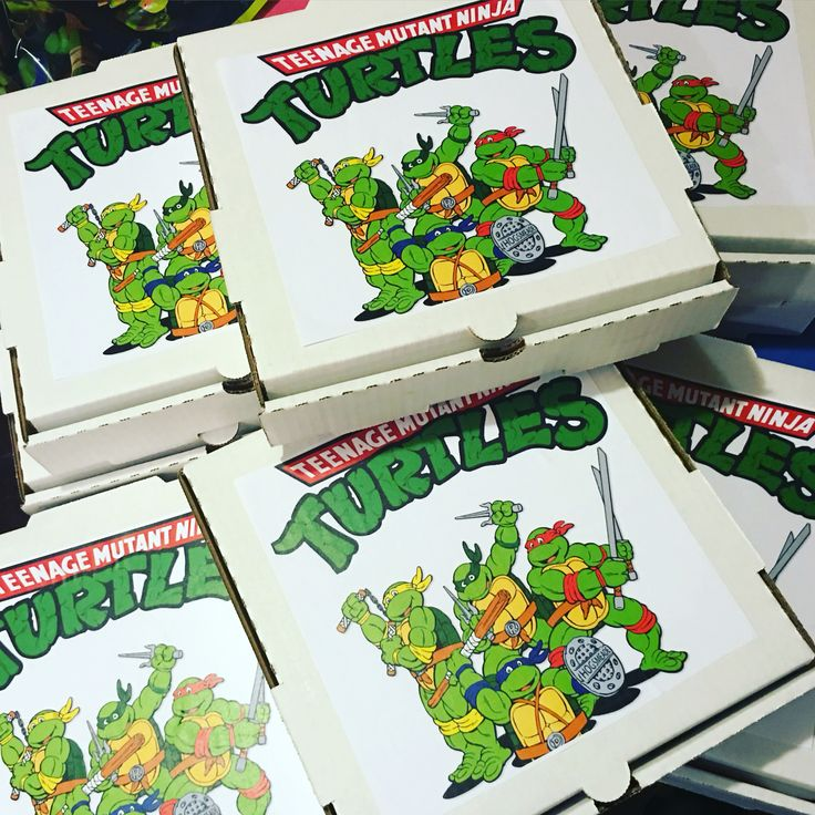 Ninja Turtle Party Favors!!!  All you need is: small pizza box, TMNT photo, and whatever you want to put inside!!! I included a pizza lunchable, and some TMNT party favors!!! Makes a new and different party favor fun for all ages!