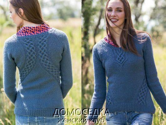 пуловер голубой