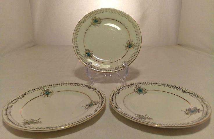 Set of 3 Vintage Heathcote China Saucers Granville Pattern