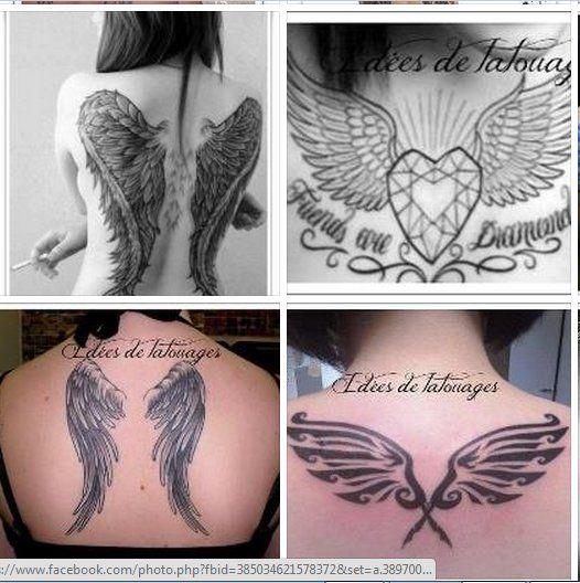 ailes d'ange, diamant, tribal et aigles pour tattoo pour fille