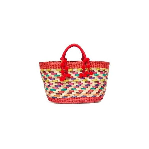 Nannacay Zanzibar Aninha Tote (15.035 RUB) ❤ liked on Polyvore featuring bags, handbags, tote bags, multi, red purse, tote bag purse, red tote purse, colorful tote bags and red tote
