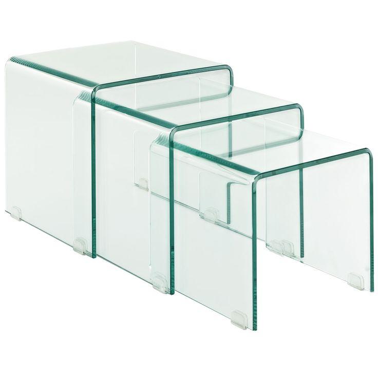 Amazon.com - LexMod Cascade Glass Nesting Table Set (3 piece) - Viva - 12 Best Images About Nesting Tables On Pinterest Sofa End Tables