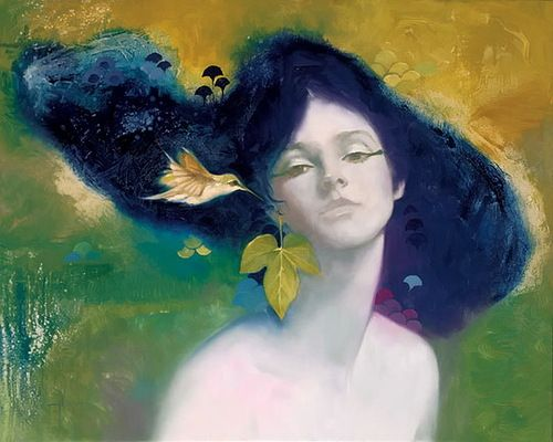 by Felix Mas... he is a modern Klimt. The real women juxtaposed by fantastic backgrounds. I am loving his works.