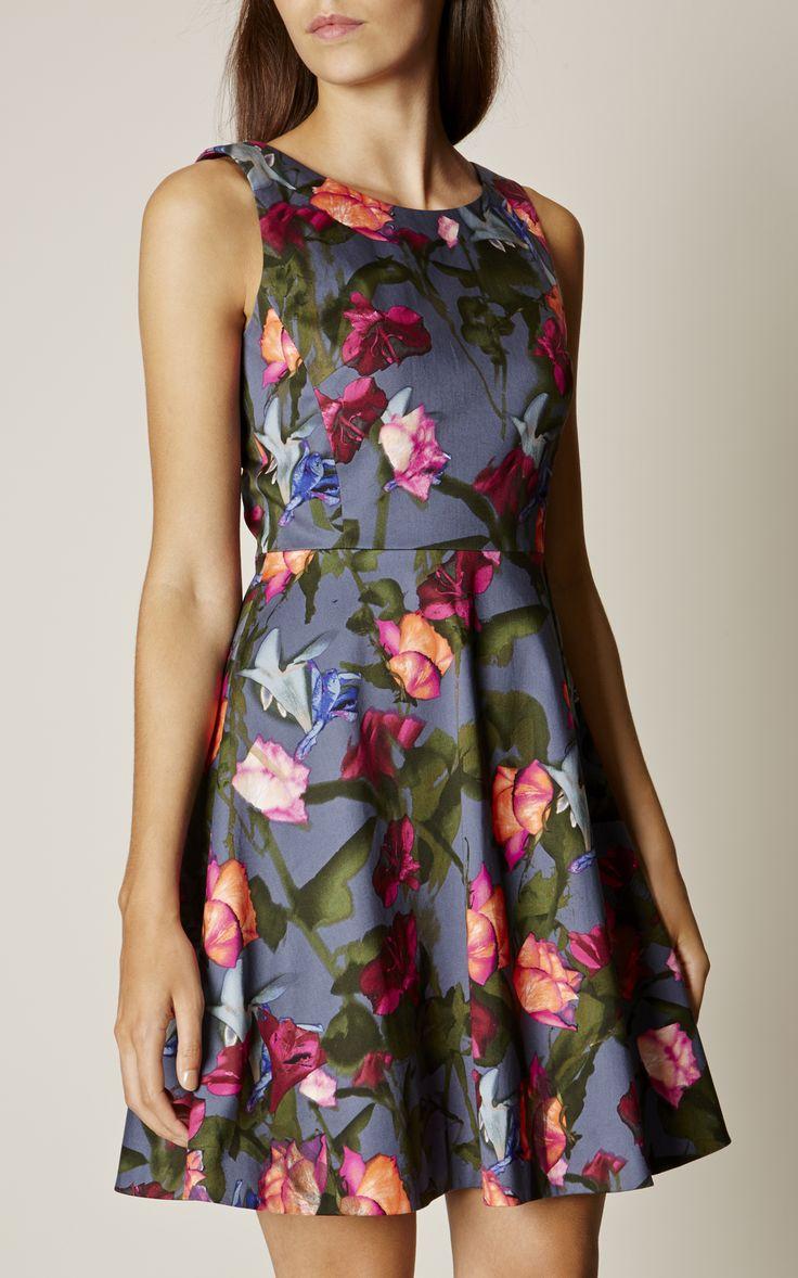 Karen Millen, STORMY ROSES DRESS Multicolour