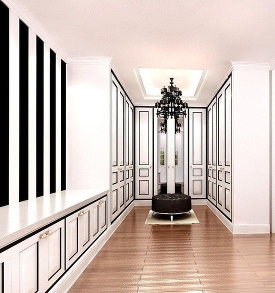A chic black and white closet to fill all your own for Black walk in wardrobe