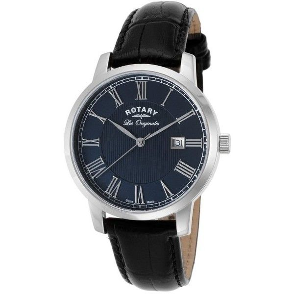 Rotary Men's Les Originales Black Leather Blue Dial SS ($100) ❤ liked on Polyvore featuring men's fashion, men's jewelry, men's watches, black, watches, rotary mens watches, mens leather strap watches, mens watches, mens roman numeral watches and mens blue dial watches