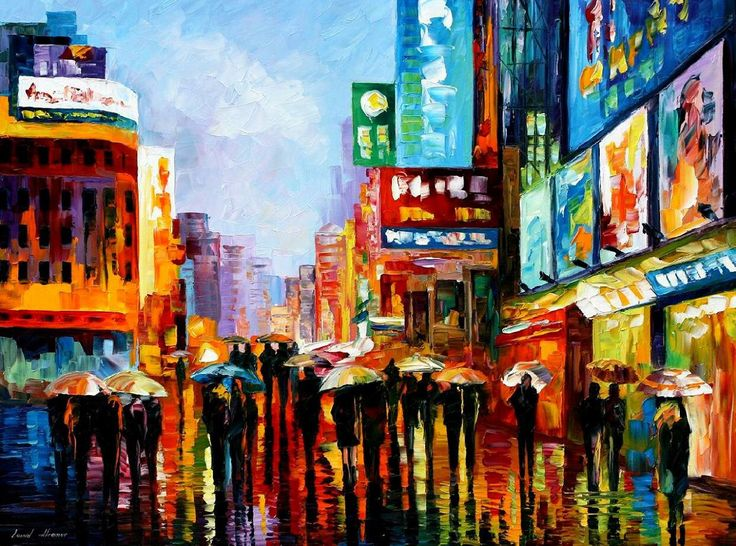 New York-Ölgemälde - Lights of Down Town — Wand Art in New York, New York-Wanddekoration, Leonid Afremov, New York Leinwand Kunst, New York Kunstwerk von AfremovArtStudio auf Etsy https://www.etsy.com/de/listing/172799743/new-york-olgemalde-lights-of-down-town