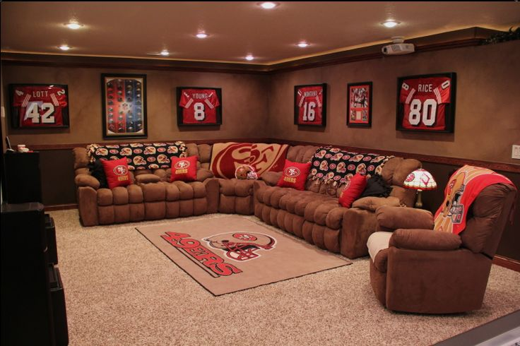 Awesome Man Cave Accessories : Sports theme man cave joe s room pinterest jersey