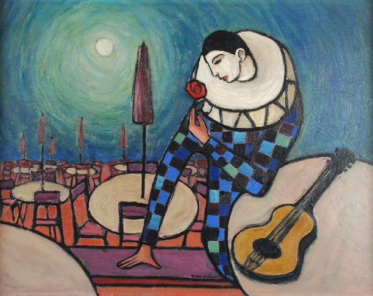 TADEUSZ MUSZYŃSKI - ZNICZ (1921-1988)  Pierrot olej, płótno; 54 x 69,5 cm;