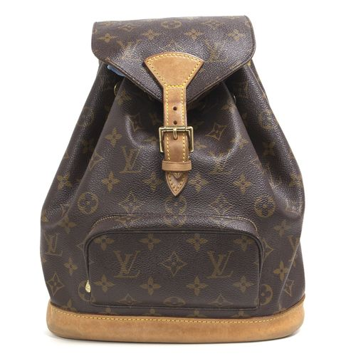 """Authentic Louis Vuitton Monogram Montsouris MM Backpack.  CONDITION:  Good.  Patina, darkening and marking on vachetta leather. Wear on hardware.  Material: Canvas Color: Brown, tan Date Code: SP0070 Exterior Features: Adjustable leather shoulder straps, front zipped pocket, flap opening with buckle and drawstring closures Interior Features: Brown fabric interior lining, one open pocket, D ring Measurements: 10"""" x 11"""" x 6"""" Included: Louis Vuitton dust pouch SKU: HA02086"""